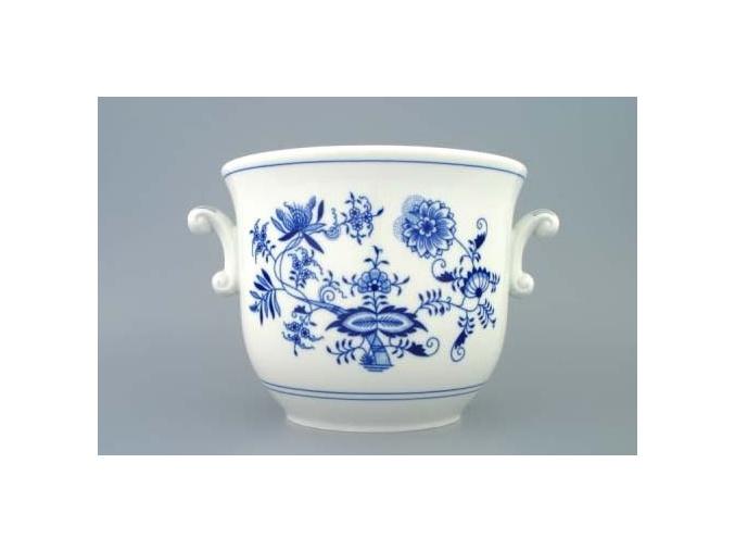 Květináč s uchy, bez nožky II  18 cm, cibulák, Český porcelán
