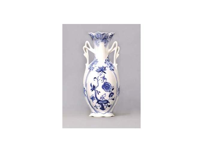 Váza secesní  9 x 20,5 cm, cibulák, Český porcelán