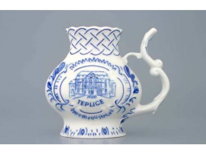 Pohárek lázeňský reliéfní Teplice 12 cm, cibulák, Český porcelán