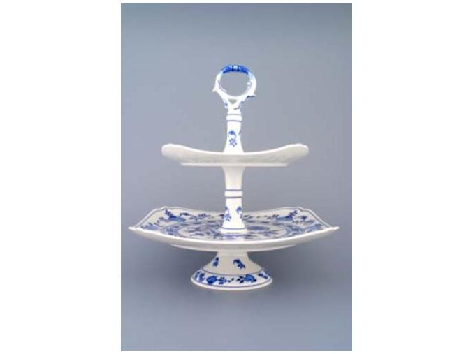 Etažér 2-dílný - talíře hranaté na noze  21+29 cm,  cibulák, Český porcelán