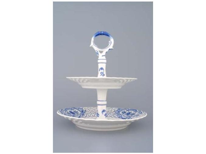 Etažér 2-dílný - talíře prolamované  18+24 cm,  cibulák, Český porcelán