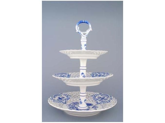 Etažér 3-dílný - talíře prolamované  18+24+27 cm,  cibulák, Český porcelán