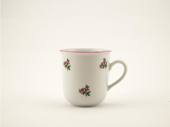Malý hrnek, házenky s růžovou linkou, 0,17 l, Český porcelán