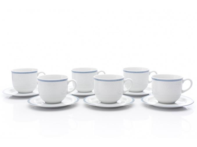 Šálky a podšálky čajové, bílá krajka, modrý lem, 270 ml, Thun, 6 ks