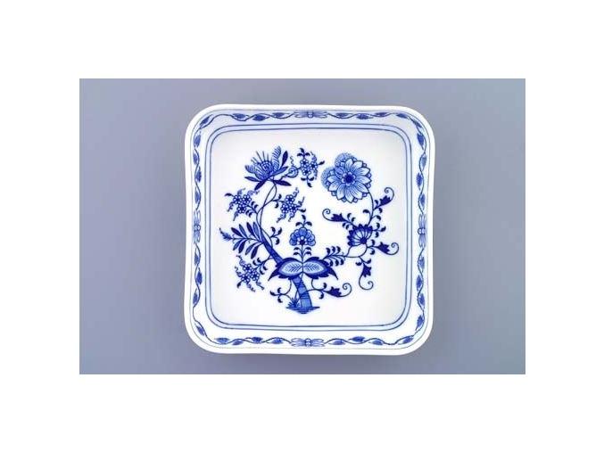 Mísa salátová čtyřhranná hladká nízká  21 cm,  cibulák, Český porcelán