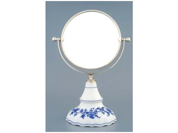 Zrcadlo kulaté otočné ve stříbrném rámu  700 g, 2 části,  cibulák, Český porcelán