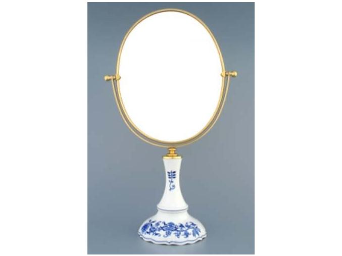 Zrcadlo oválné otočné ve zlatém rámu   960 g, 2 části,  cibulák, Český porcelán