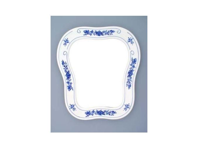 Zrcadlo s rámem / závěsné  40 x 37 cm, cibulák, Český porcelán