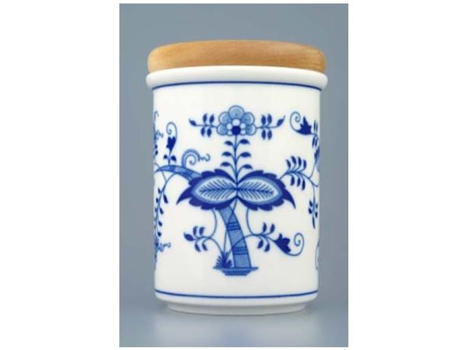 Dóza s dřevěným uzávěrem C - velká  12,5 x 9,7 cm, cibulák, Český porcelán