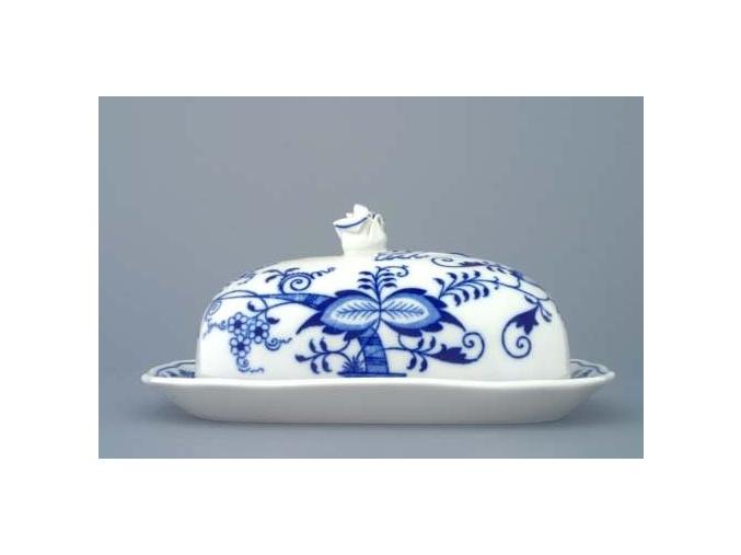 Máslenka hranatá velká - komplet 2 dílná  630 g, cibulák, Český porcelán
