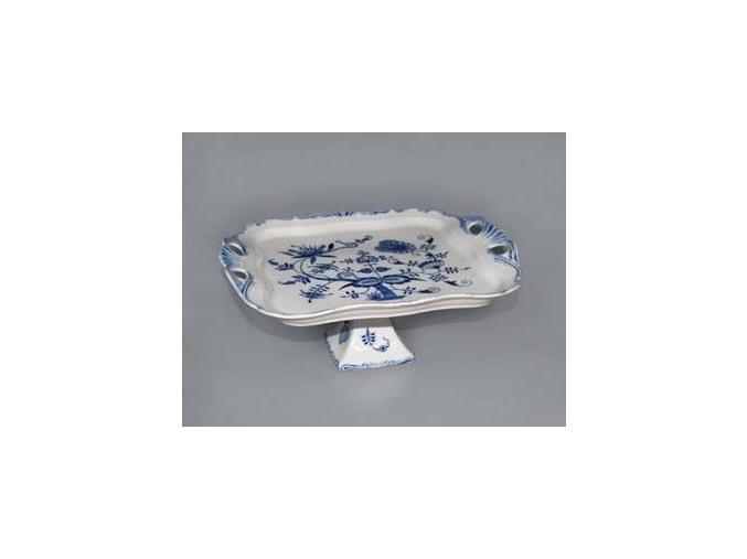 Podnos Aida čtvercový na noze  34 x 29 cm, cibulák, Český porcelán