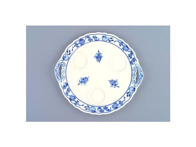 Podnos kulatý pod 3 karafky  20,5 cm, cibulák, Český porcelán