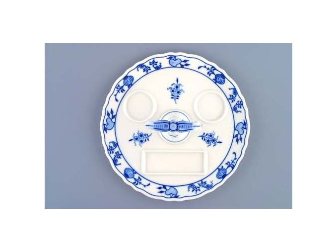 Podnos kulatý s porcovacím klíčem  21 cm, cibulák, Český porcelán