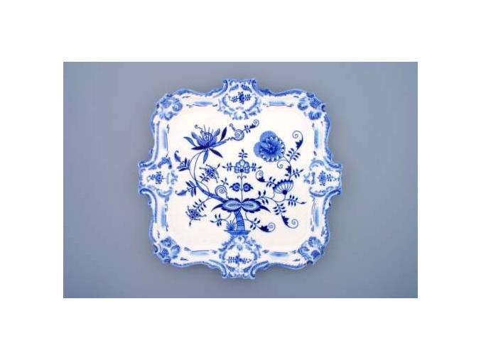 Podnos reliéfní  35 x 35 cm, cibulák, Český porcelán