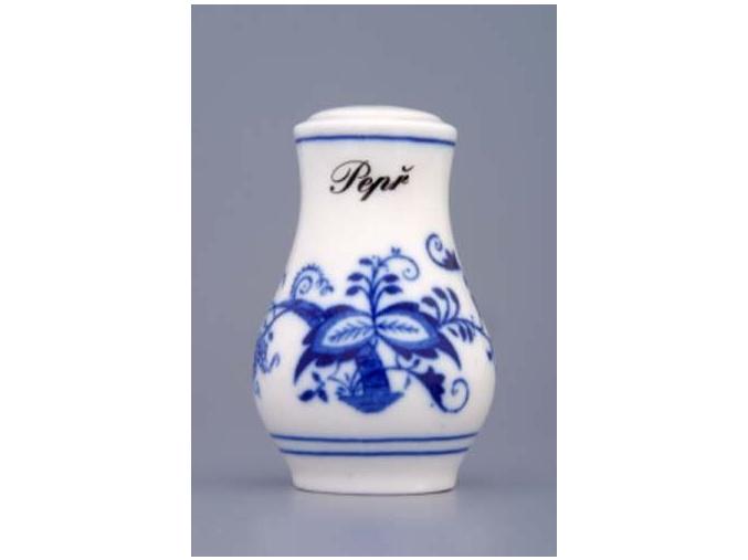 Pepřenka sypací s nápisem Pepř  7,5 cm, cibulák, Český porcelán