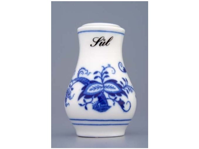 Slánka sypací s nápisem Sůl  7,5 cm, cibulák, Český porcelán