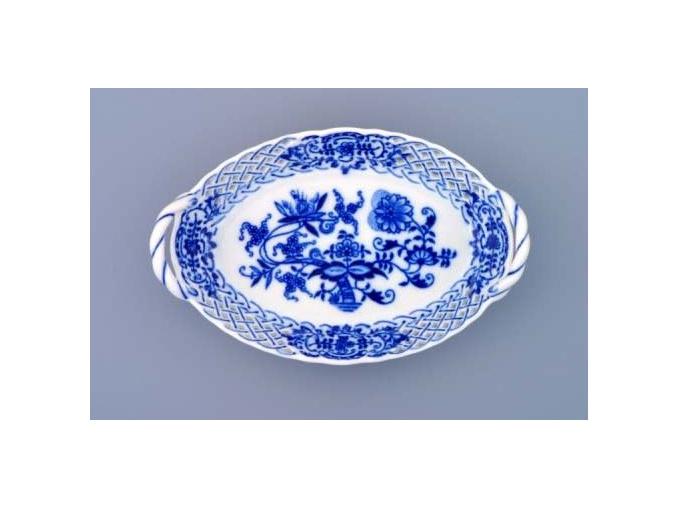 Košík prolamovaný  16,5 cm, cibulák, Český porcelán