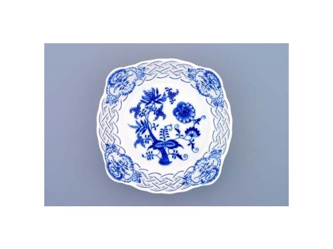 Mísa čtyřhranná prolamovaná  17 cm, cibulák, Český porcelán
