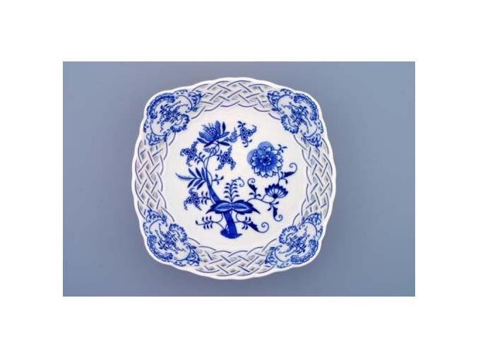 Mísa čtyřhranná prolamovaná  21 cm, cibulák, Český porcelán