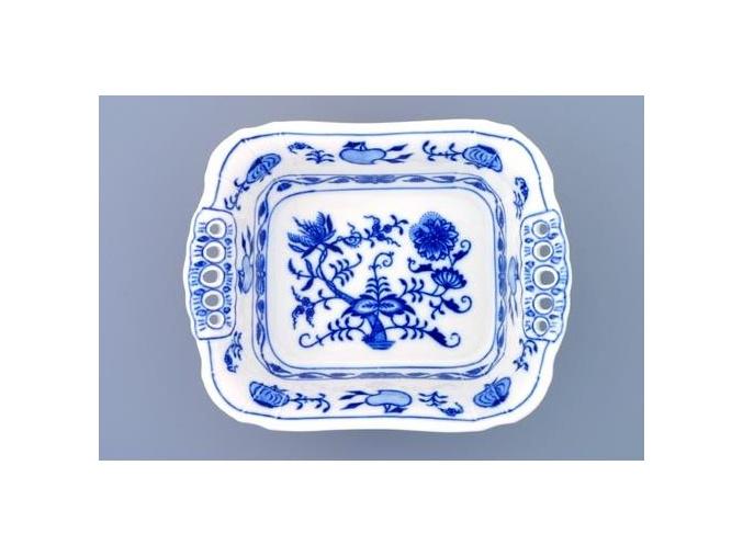 Mísa čtyřhranná s prolam. Uchy  19 cm, cibulák, Český porcelán