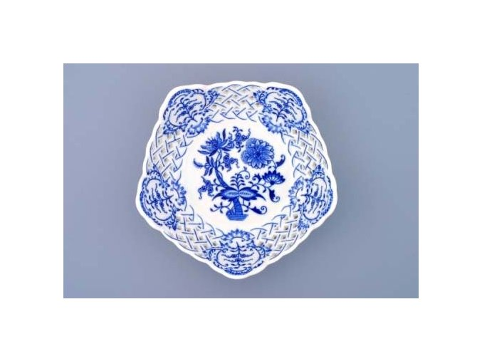 Mísa pětihranná prolamovaná  19 cm, cibulák, Český porcelán