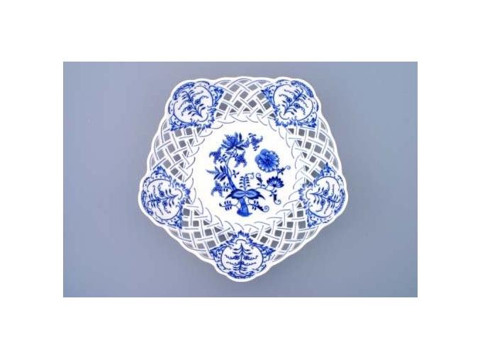 Mísa pětihranná prolamovaná  28 cm, cibulák, Český porcelán