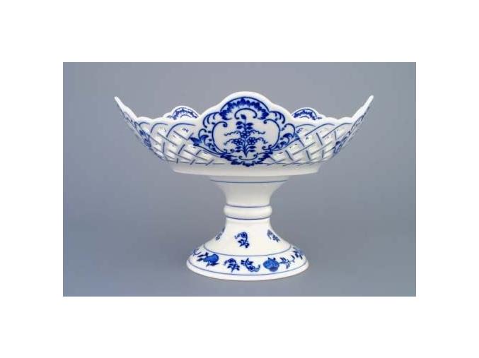 Mísa pětihranná prolamovaná na dort. Noze  24 cm, cibulák, Český porcelán