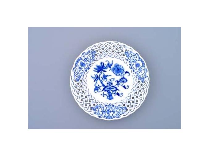 Talíř prolamovaný  15 cm, cibulák, Český porcelán