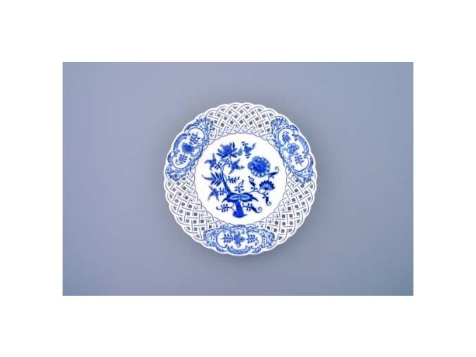 Talíř prolamovaný  24 cm, cibulák, Český porcelán