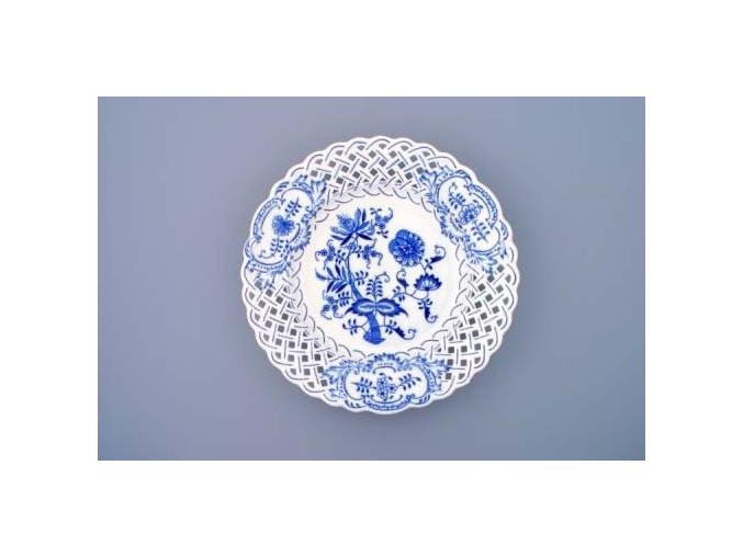 Talíř prolamovaný  27 cm, cibulák, Český porcelán