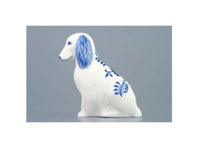 Pes sedící 10 cm, cibulák, Český porcelán