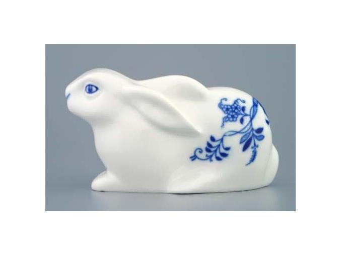 Zajíc velikonoční ležící 6,1 x 11,4 cm, cibulák, Český porcelán