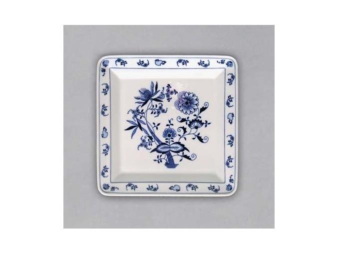 Talíř čtyřhranný 21,5 cm, cibulák, Český porcelán