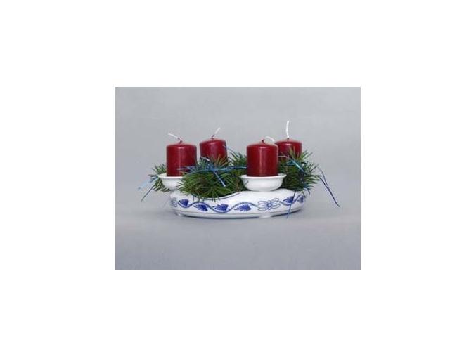 Svícen adventní, 10 cm, cibulák, Český porcelán