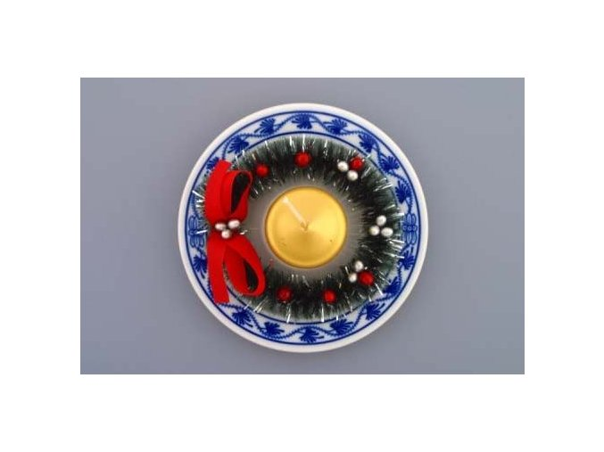 Svícen vánoční osobní s věnečkem a svíčkou 13 cm, cibulák, Český porcelán