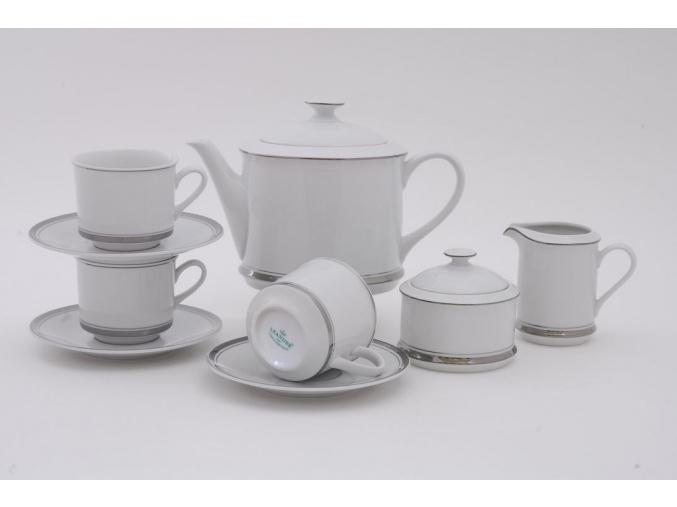 Sabina, čajová souprava, 15-dílná, platinový proužek