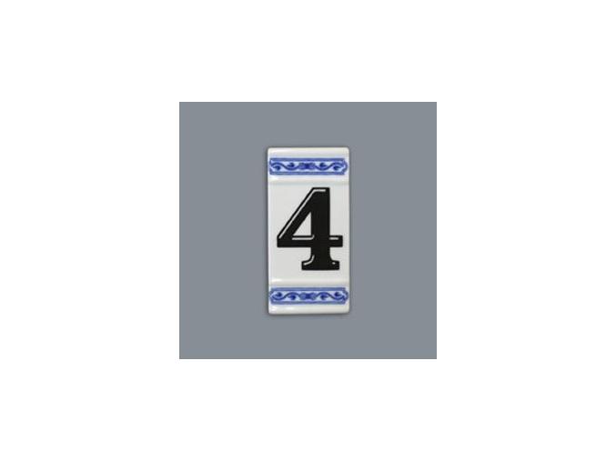 Číslo na dům - rámeček na střed, číslo 4, 110 x 55 mm, cibulák, Český porcelán