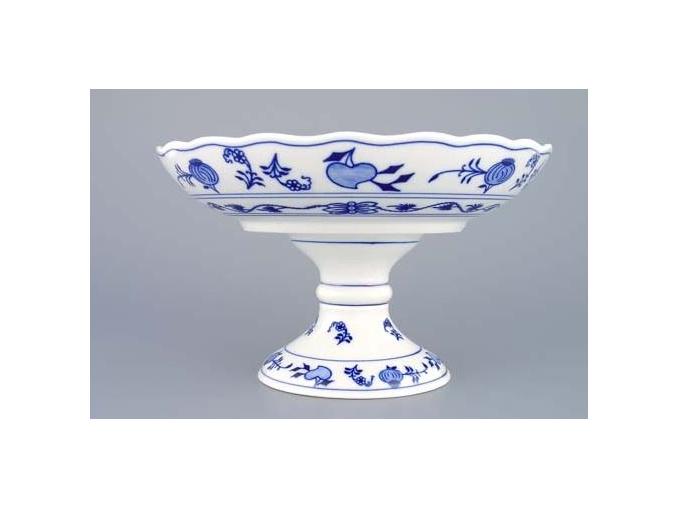 Mísa kompotová oboustranná na dortové noze, 24 cm, cibulák, Český porcelán
