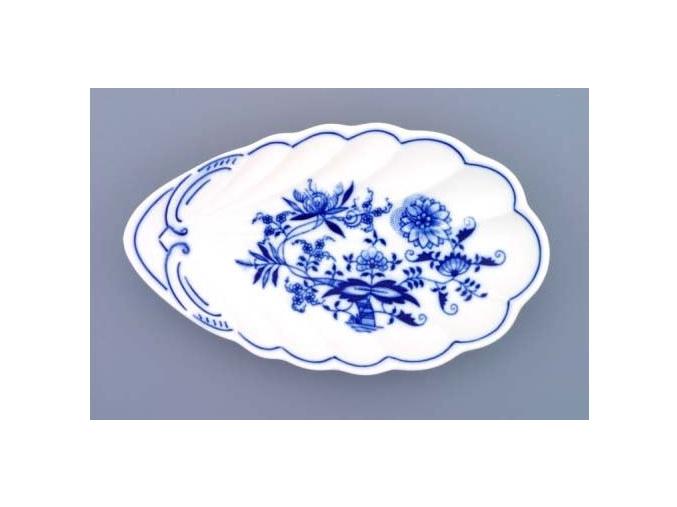 Miska mušle, 23 cm, cibulák, Český porcelán