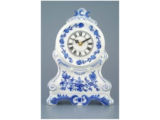 Krbové hodiny bez růží / se strojkem, 28 cm, cibulák, Český porcelán