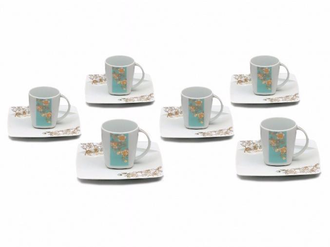 Eye, šálky s podšálky kávové, blue, Thun, 6 ks