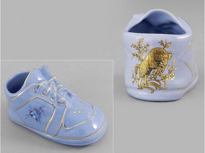 dětská botička - beran, modrý porcelán, Leander
