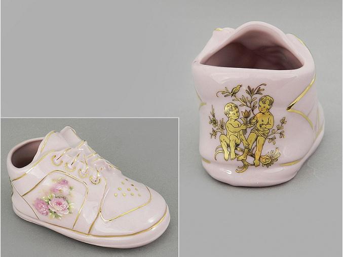 dětská botička - blíženec, růžový porcelán, Leander