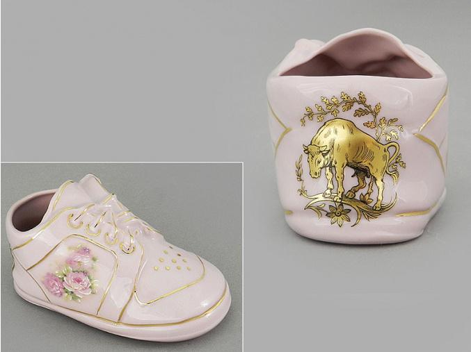 dětská botička - býk, růžový porcelán, Leander