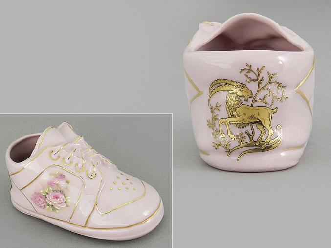 dětská botička - kozoroh, růžový porcelán, Leander