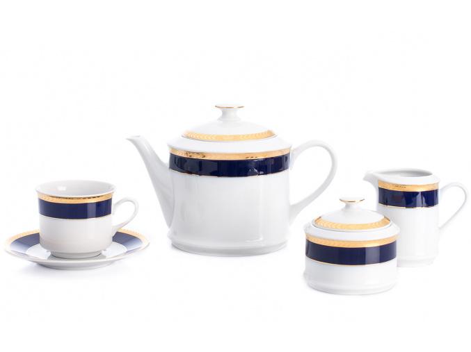 Sabina, čajová souprava, 15-dílná, kobalt + zlatý cop