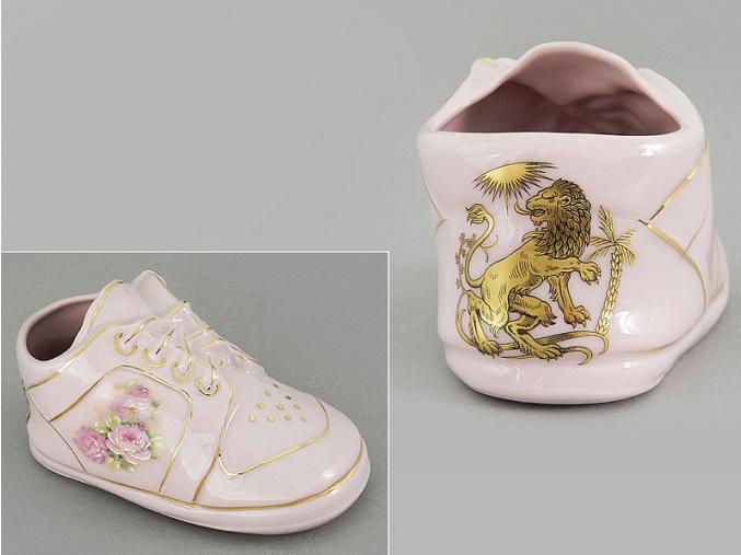 dětská botička - lev, růžový porcelán, Leander