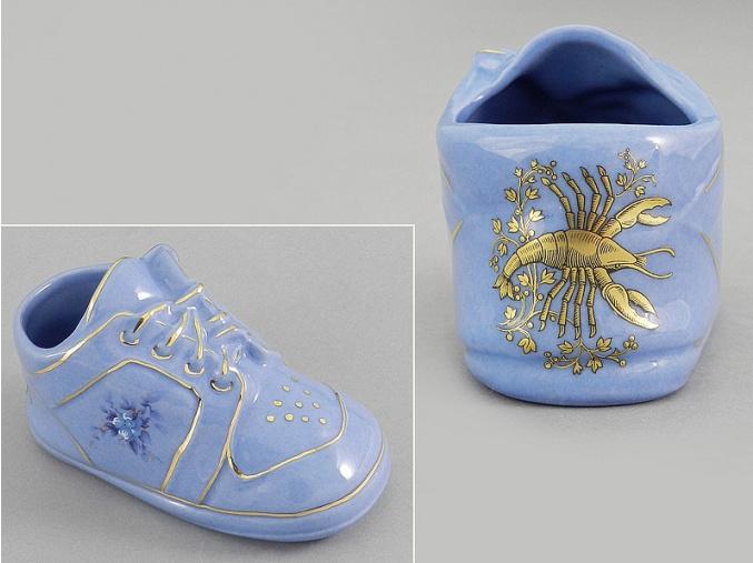 dětská botička - rak, modrý porcelán, Leander