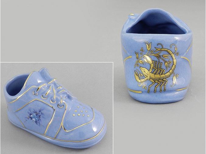 dětská botička - štír, modrý porcelán, Leander