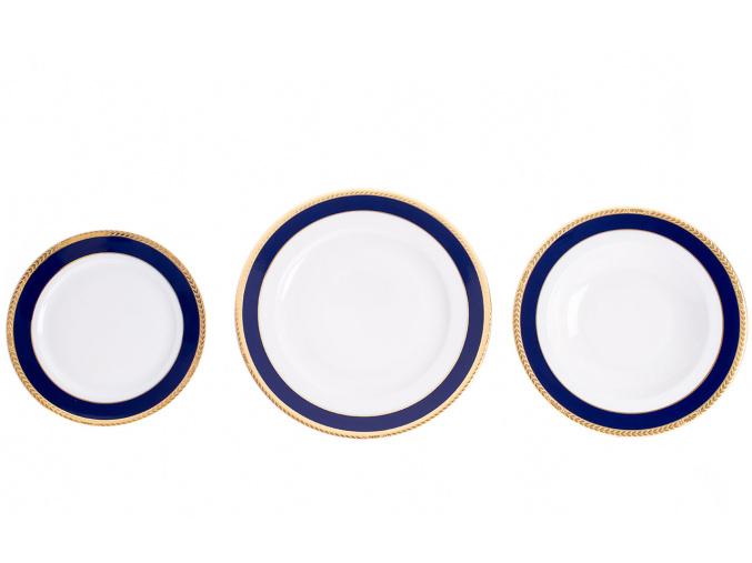 Sabina, talířová sada, 18-dílná, kobalt + zlatý cop